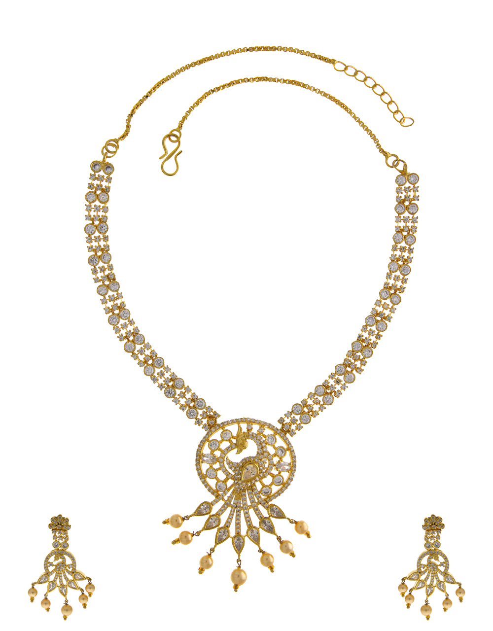 Gold Finish Peacock Design Necklace Fancy