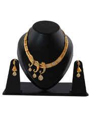 Matte Gold Finish Designer Necklace For Women