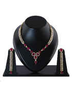 Pink Colour Gold Finish Diamond Necklace For Wedding
