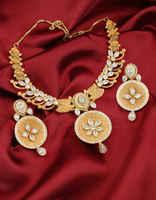 Designer Matte Gold Finish Diamond Necklace