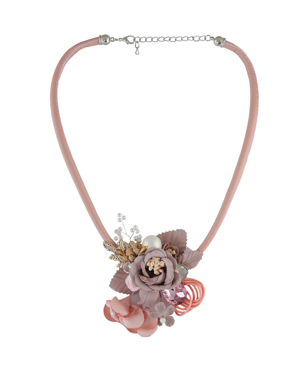 Pink Colour Floral Design Moti Styled Necklace