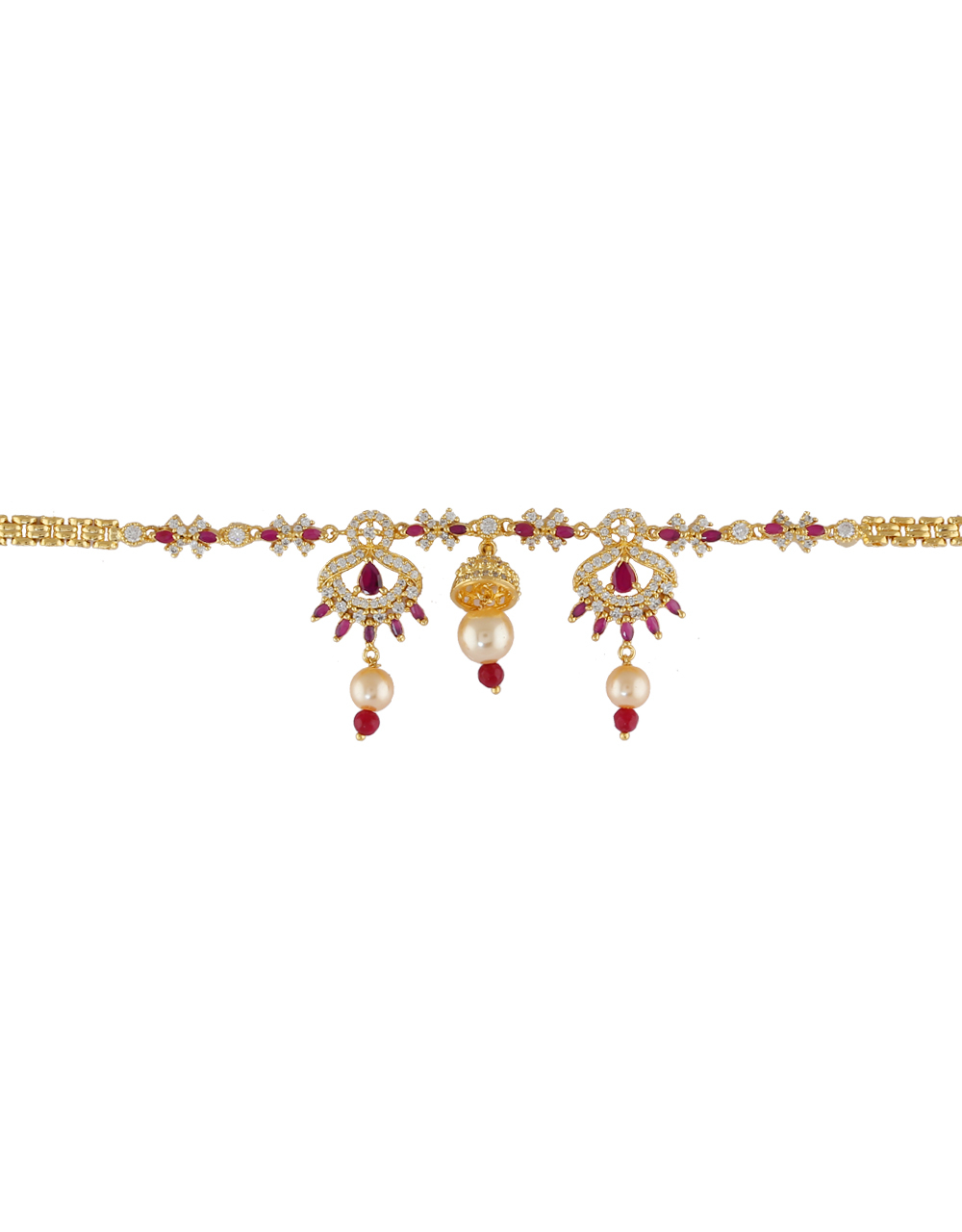 Pink Colour Gold Finish Diamond Armlet Bajuband