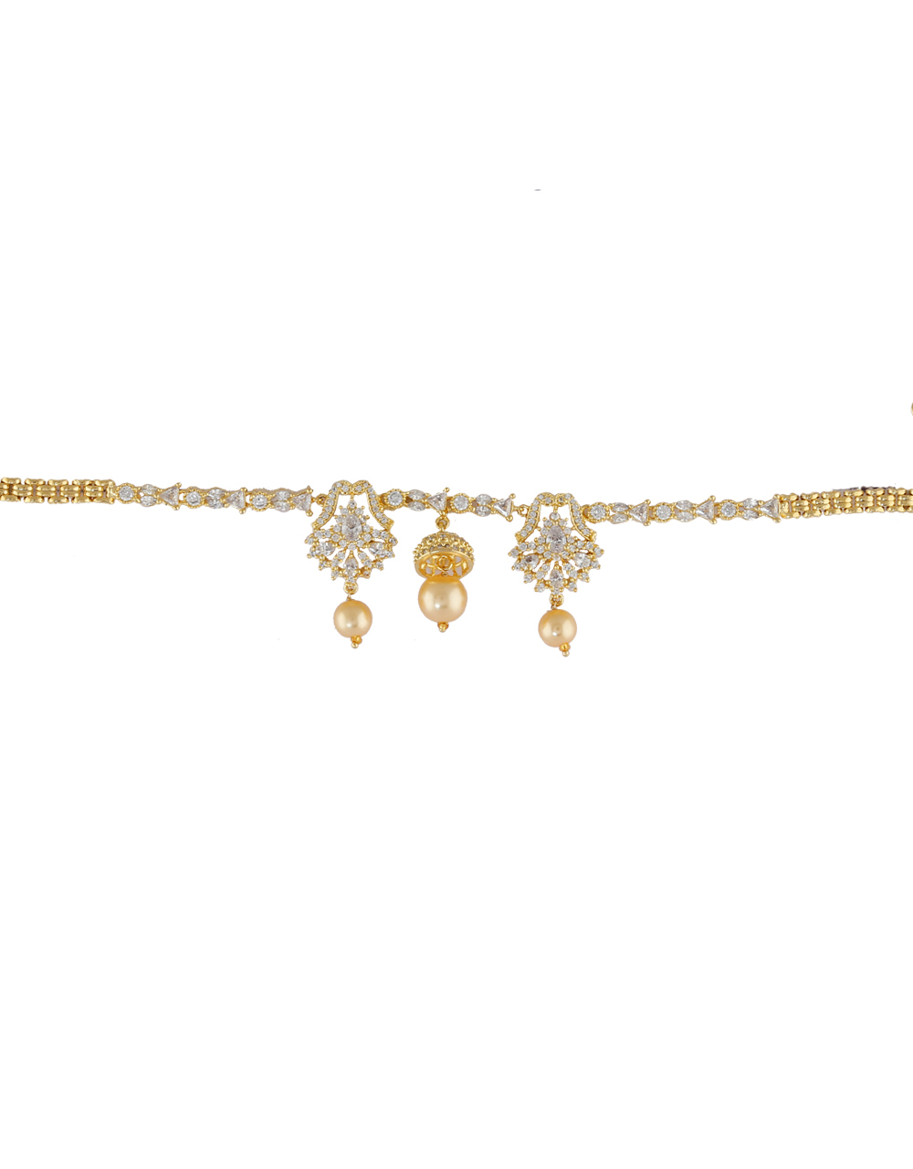 Gold Finish Armlet Styled With Pearls Beads Bajuband