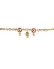 Pink Colour Gold Finish Designer Diamond Bajuband