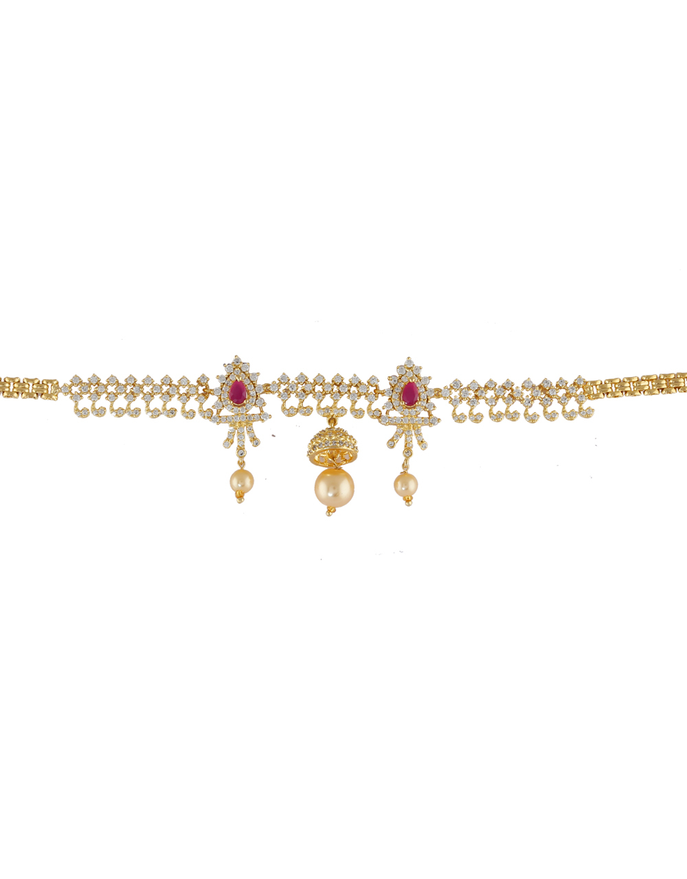 Gold Finish Pink Colour Jhumki Styled Armlet