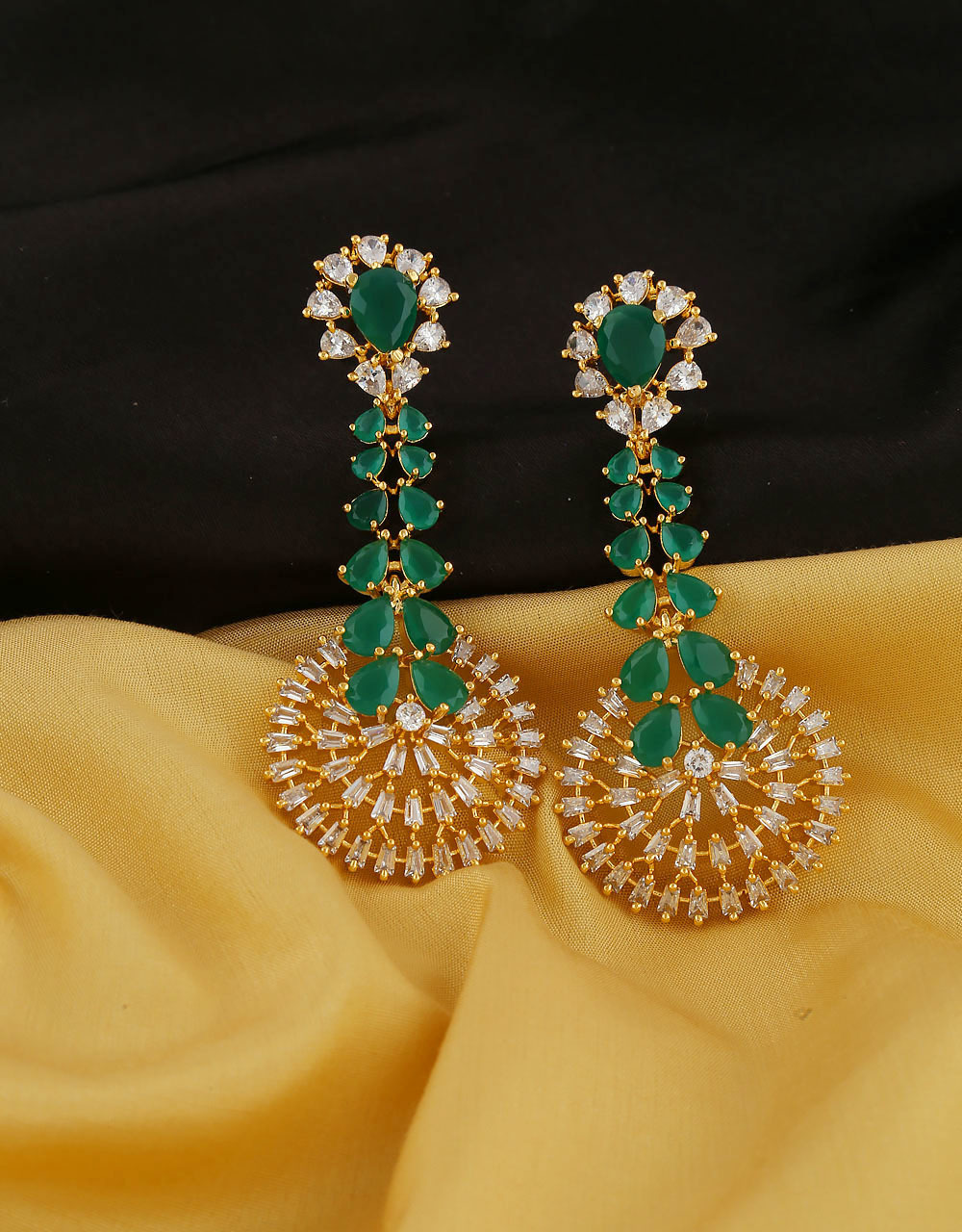 5f1a0bf7c Green Colour Earrings Styled With Moti Earrings For Wedding. Loading zoom