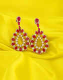 Silver Finish Earring Studded With Pink Colour Styled With Moti Earring