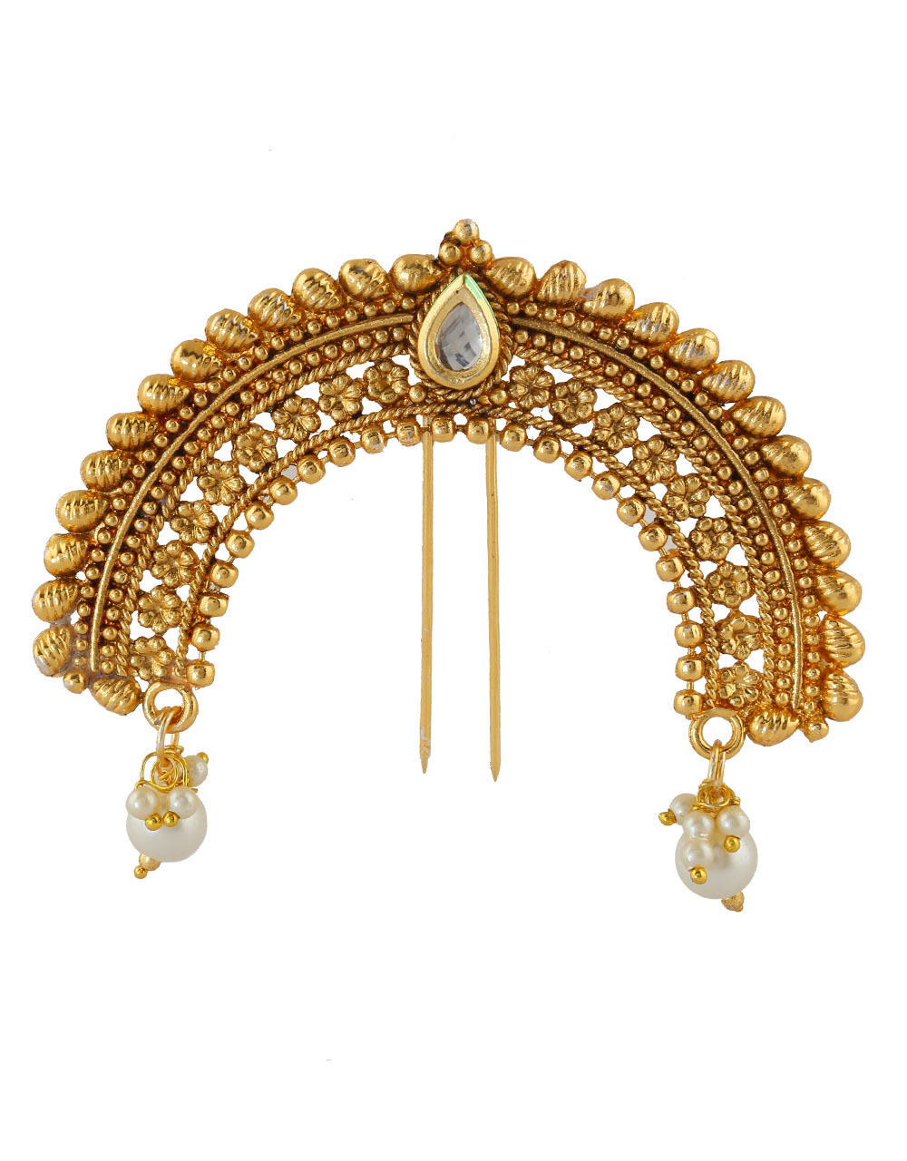 Adorable Gold Finish Hair Accessories Studded With Kundan Hair Jewellery