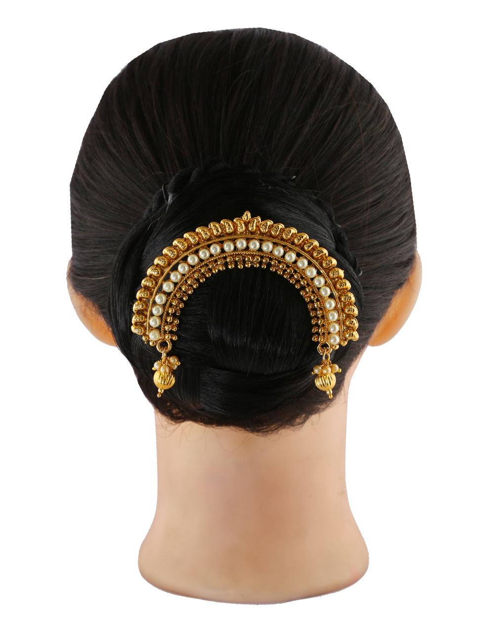 Gold Finish Hair Brooch Styled With Moti Hair Jewellery