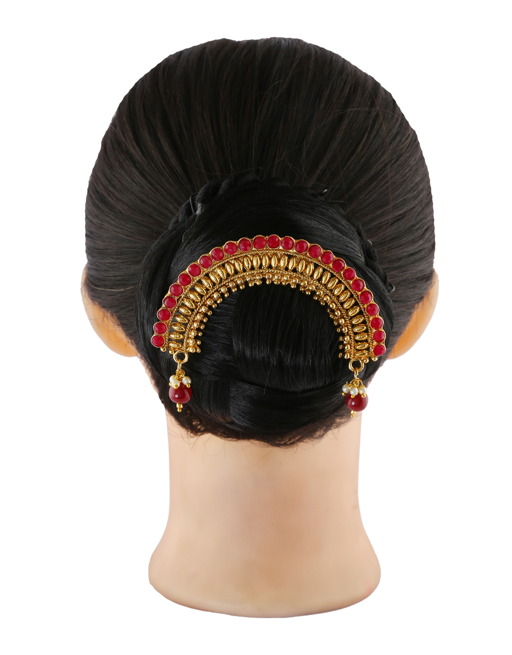Red Colour Antique Gold Finish Fancy Hair Brooch