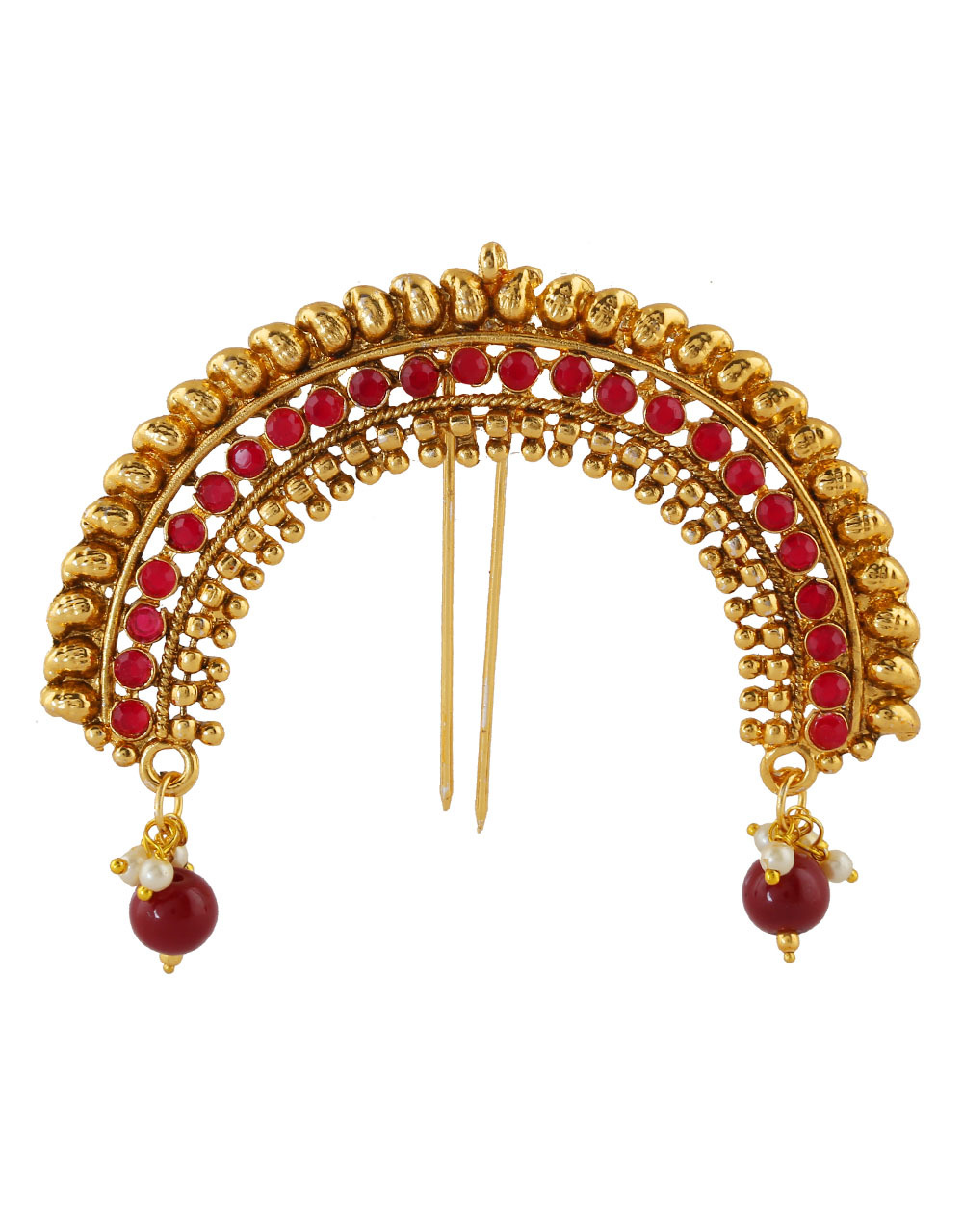 Red Colour Gold Finish Hair Jewellery For Wedding
