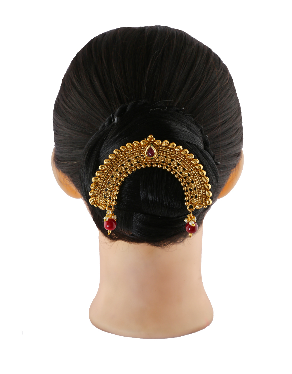 Designer Red Colour Gold Finish Fancy Hair Brooch