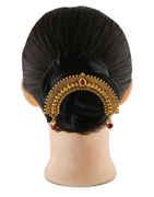 Gold Finish Maroon Colour Hair Ambada Pin