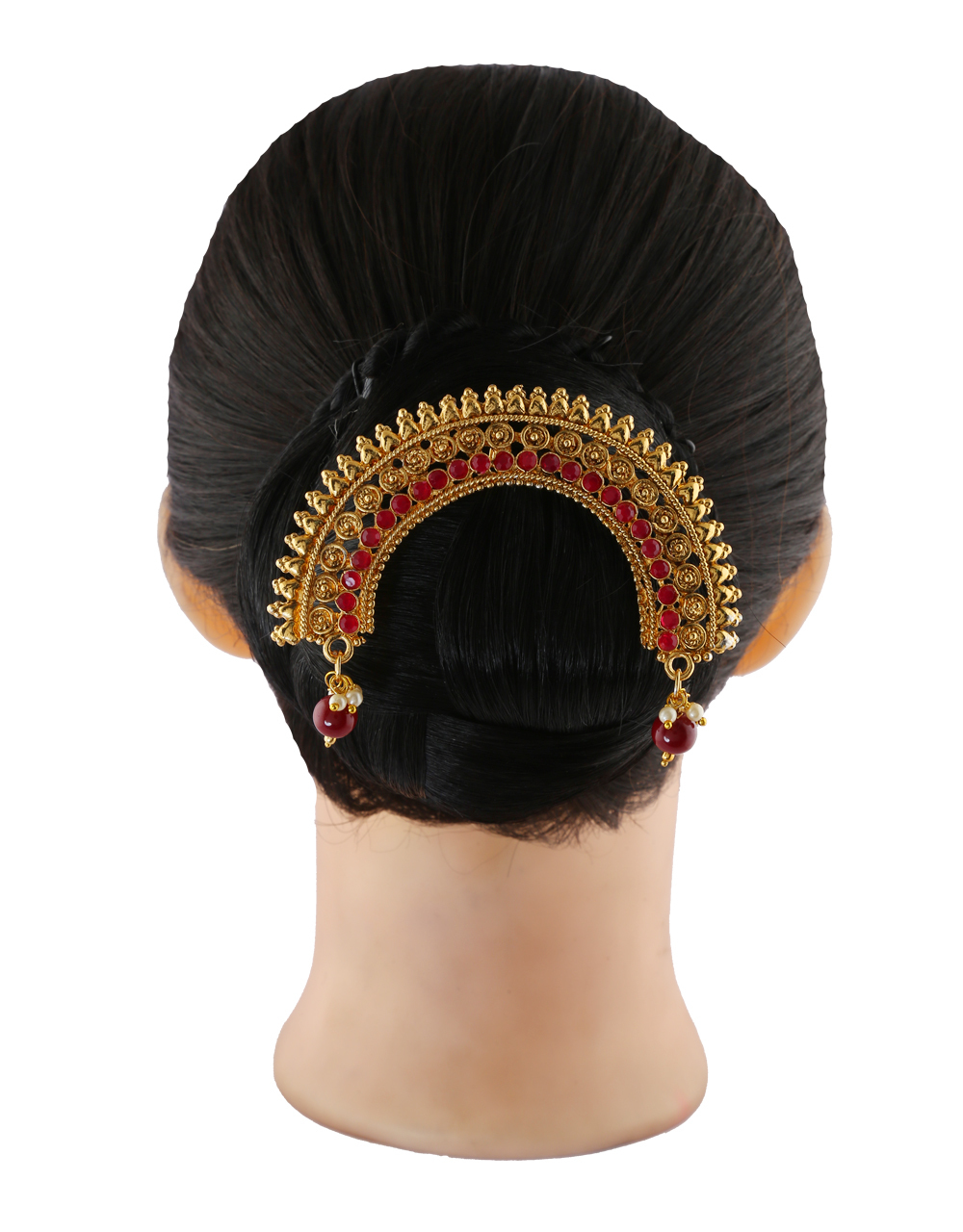 Red Colour Gold Finish Fashionable Hair Accessories
