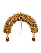 Fancy Red Colour Gold Finish Hair Jewellery