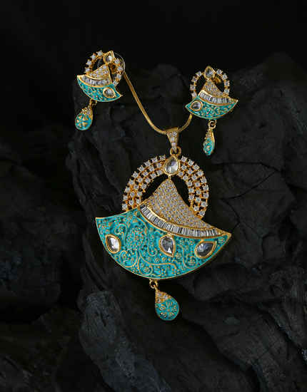 Green Colour Gold Finish Very Classy Designer Diamond Jewellery Set