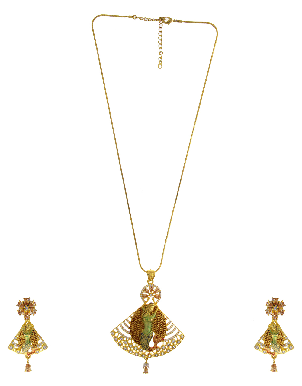 Matte Gold Finish Diamond Fancy Pendant Set