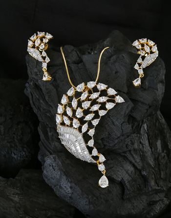 Dazzling Gold Finish Party Wear Diamond Set