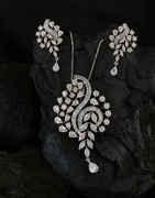 Silver Finish American Diamond Pendant Set