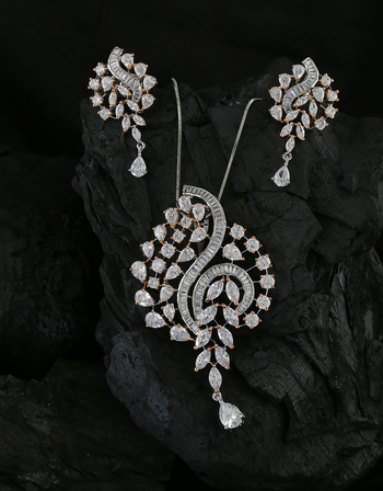 Silver Finish American Diamond Pendant Set