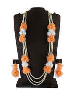 Orange Colour Floral Design Necklace Jewellery For Haldi