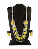Yellow Colour Floral Design Moti Necklace For Godhbharai