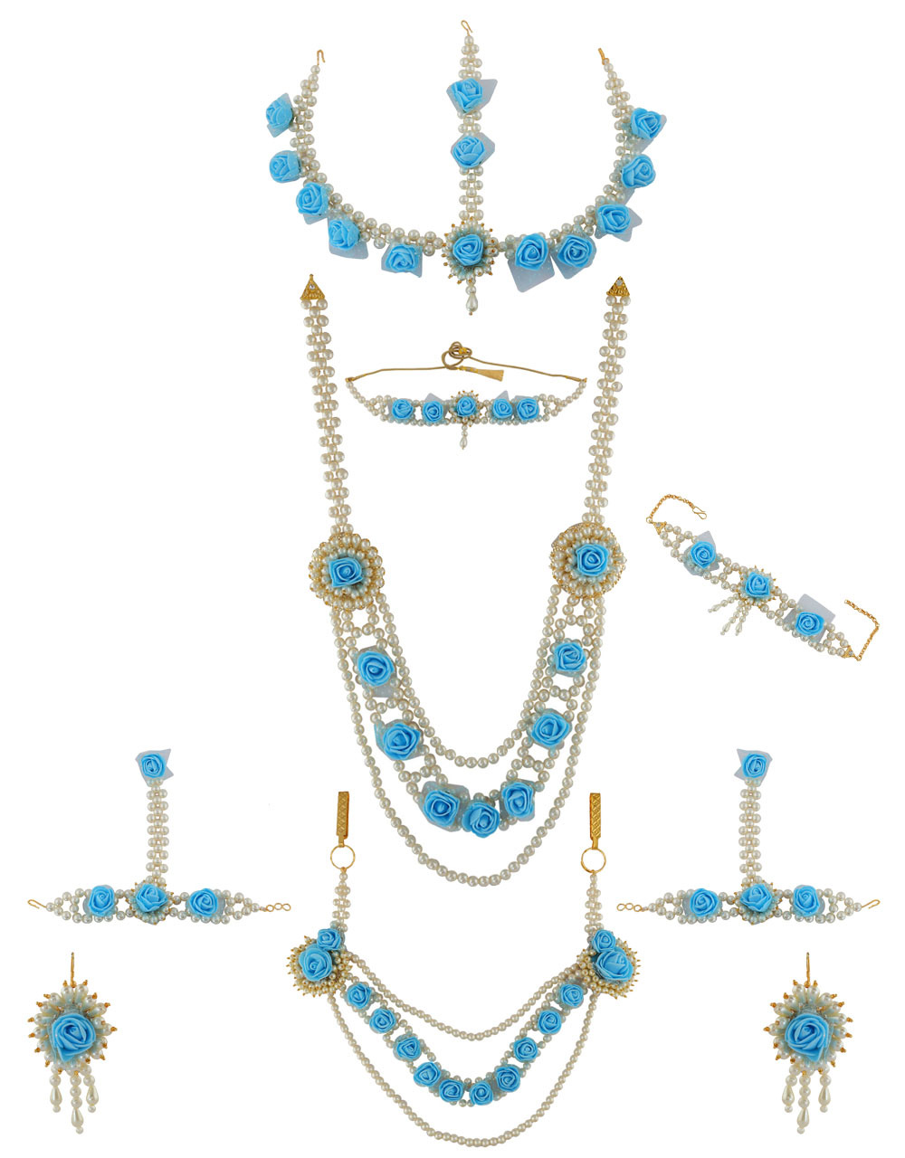 Turquiose Colour Moti Flower Jewellery For Wedding