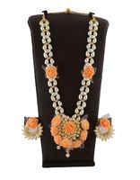 Designer Orange Colour Flower Jewellery Necklace Set For Bridal Fancy