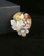 Flower Set Design Sari Pin Styled Fancy Pearls