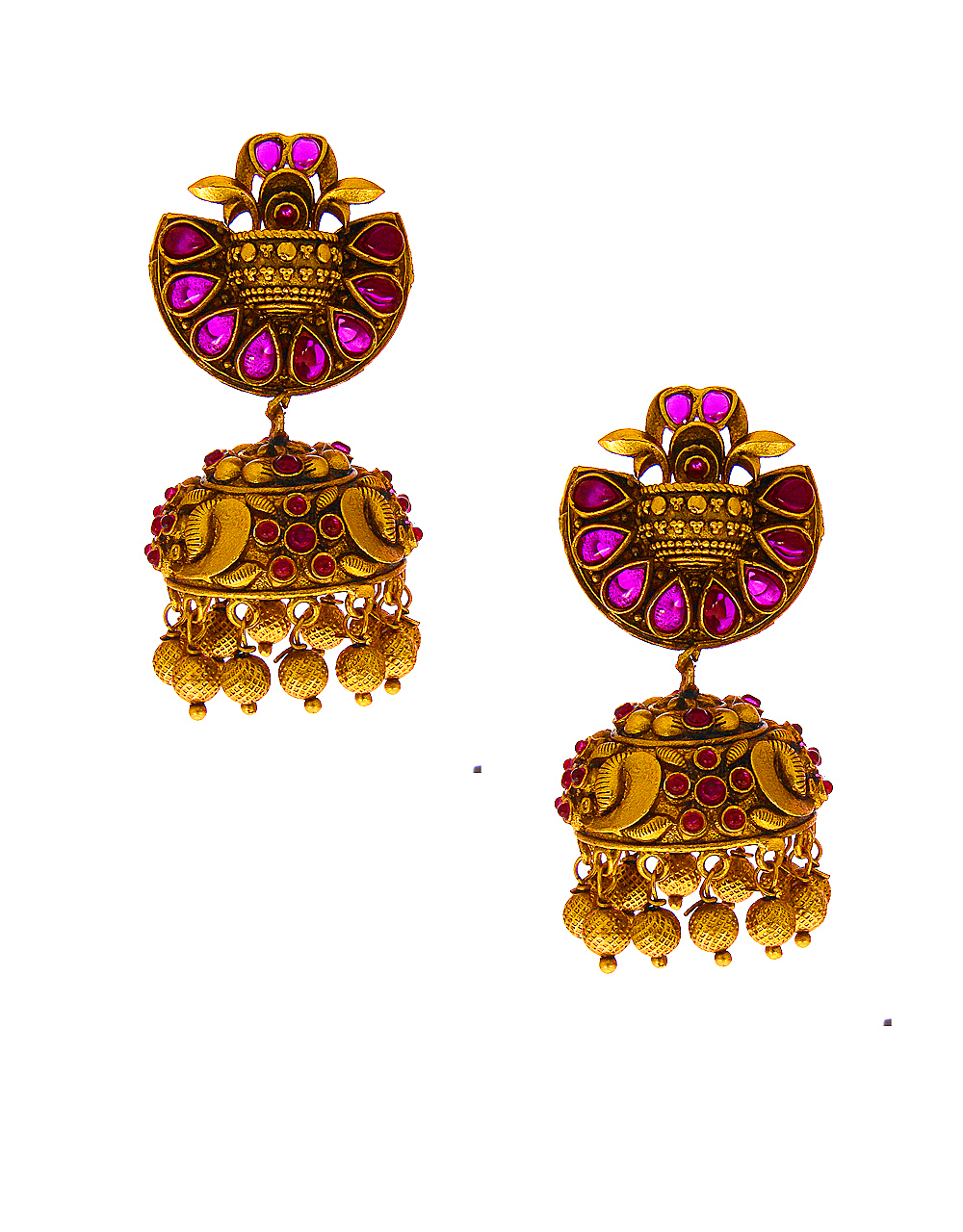 Pink Colour Matte Gold Finish Jhumkaa Earring