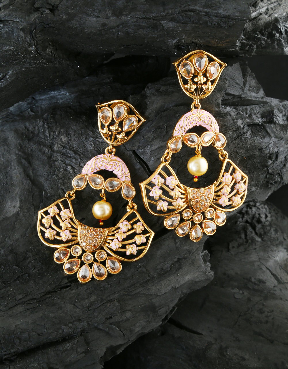 Baby-Pink Colour Gold Finish Designer Earring