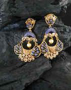Blue Colour Gold Finish Chandbali Earring