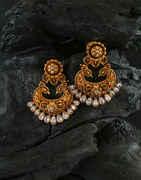Peacock Design Gold Finish Chandbali Earring