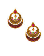 Multi Colour Mattte Gold Finish Chandbali Earring Fancy