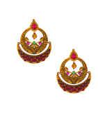 Multi Colour Mattte Gold Finish Chandbali Earring Fancy