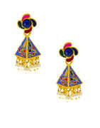 Blue Colour Gold Finish Designer Jhumkaa Earring Fancy