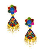 Very Classy Multi Colour Gold Finish Earring Fancy