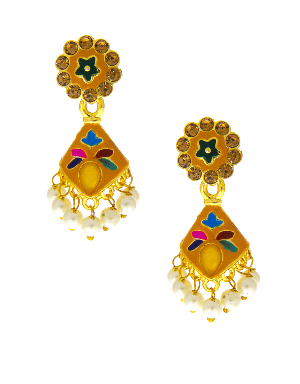 Yellow Colour Gold Finish Traditional Jhumkies