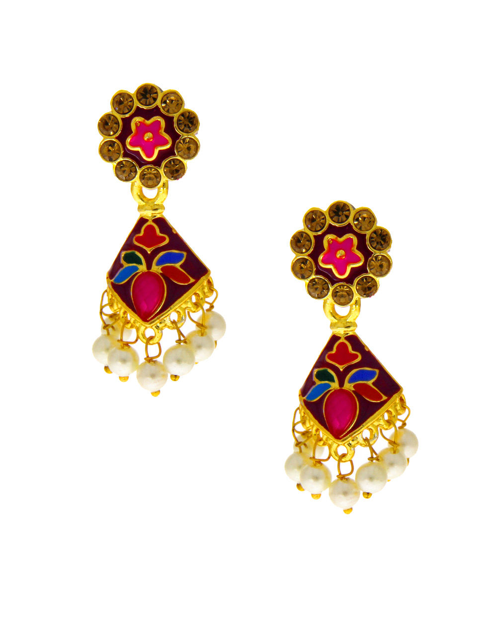 Multi Colour Gold Finish Floral Design Fancy Earring