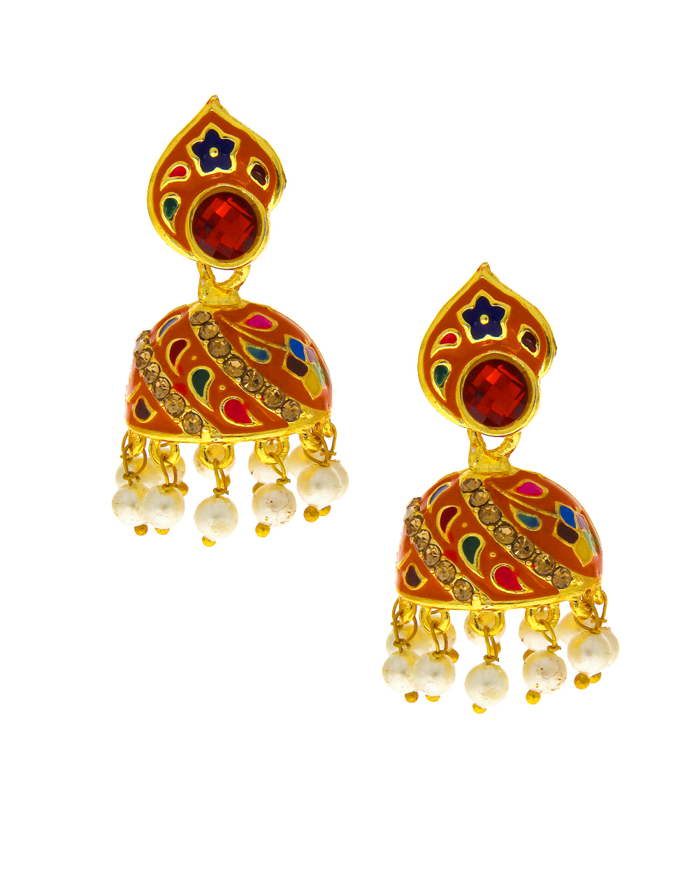 Orange Colour Mina Work Gold Finish Moti Styled Earring Jhumkaa