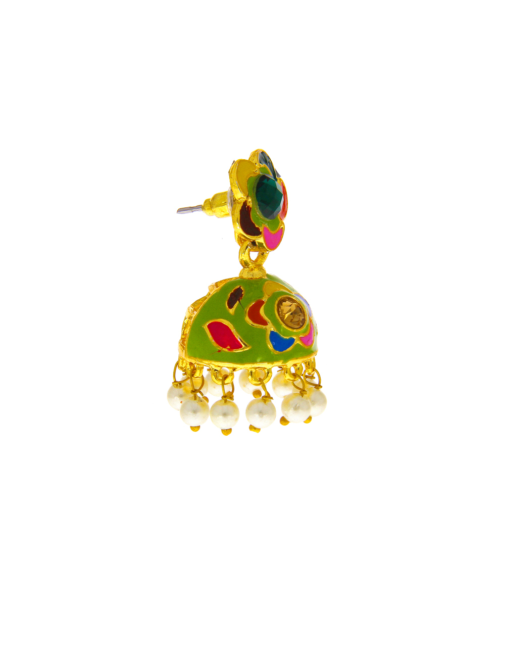 Green Colour Floral Design Moti Styled Fancy Earring