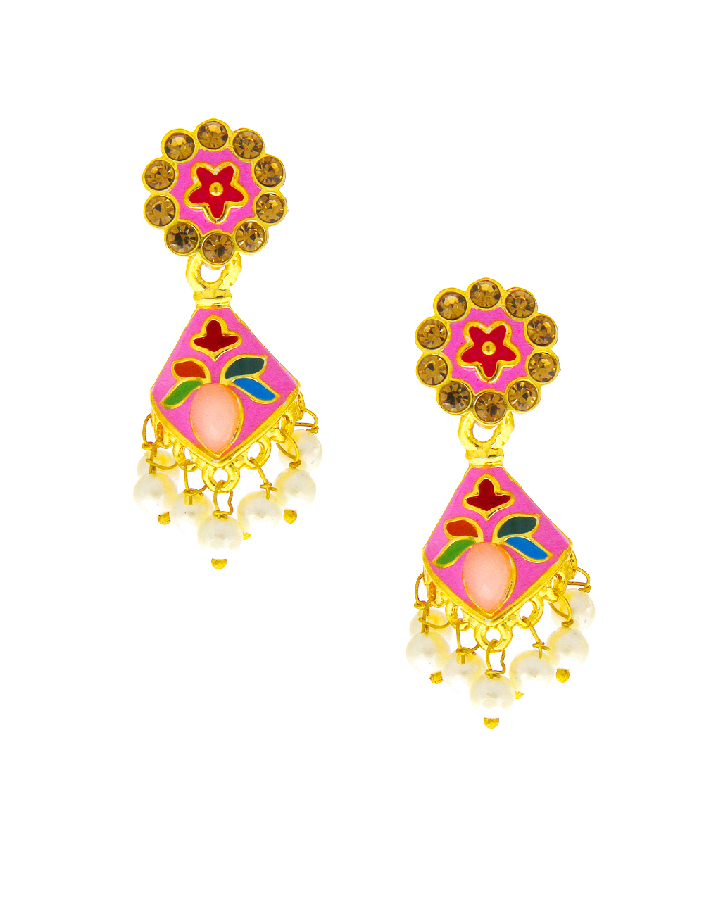 Pink Colour Gold Finish Simple Earring