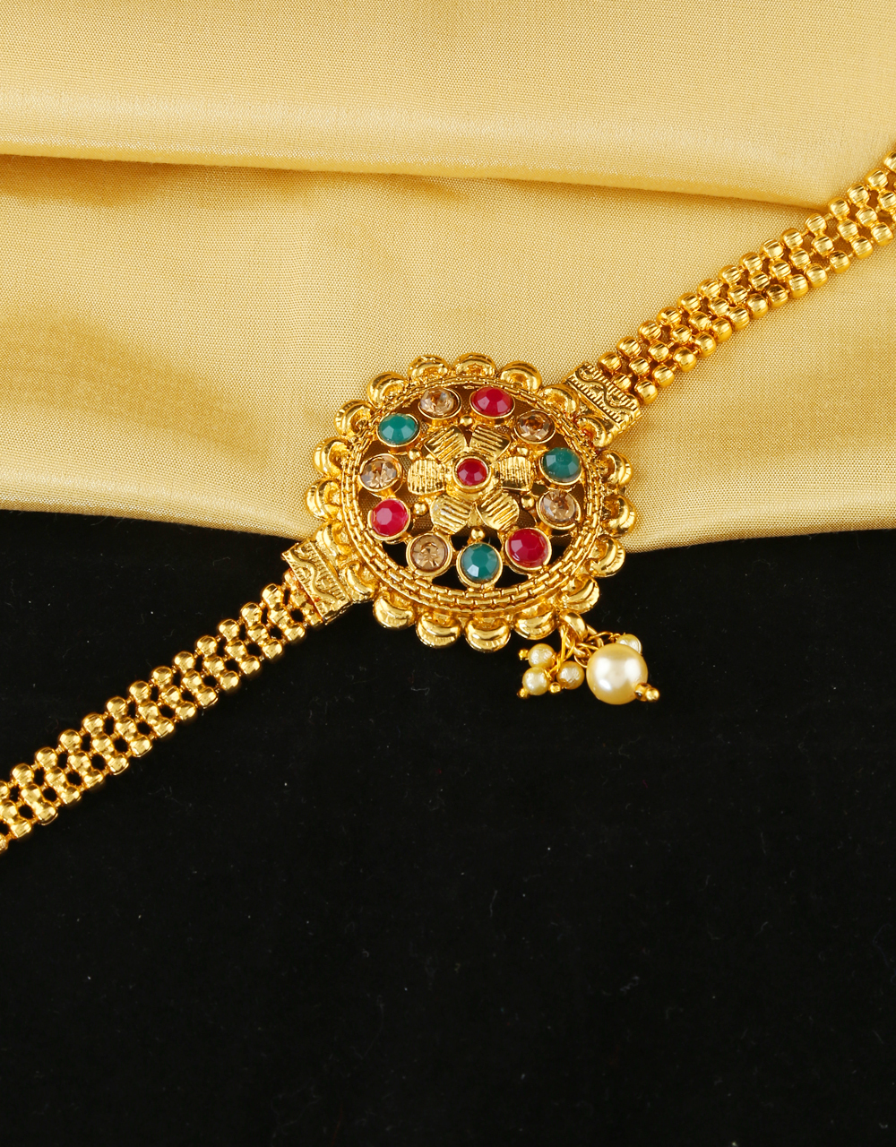 Multi Colour Gold Finish Traditional Armlet