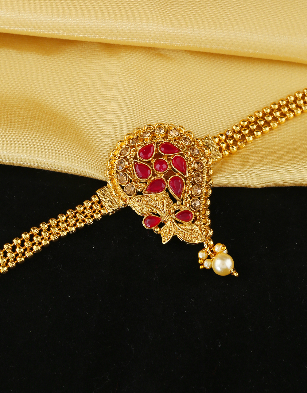 Red Colour Traditional Bajuband Studded With Stones Armlet