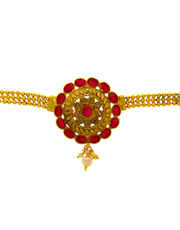 Red Colour Floral Design Gold Finish Bajuband For Wedding