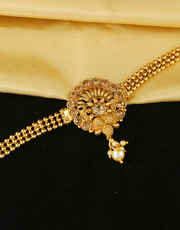 Gold Finish Fashionable Armlet Studded With Stones Bajuband Fancy