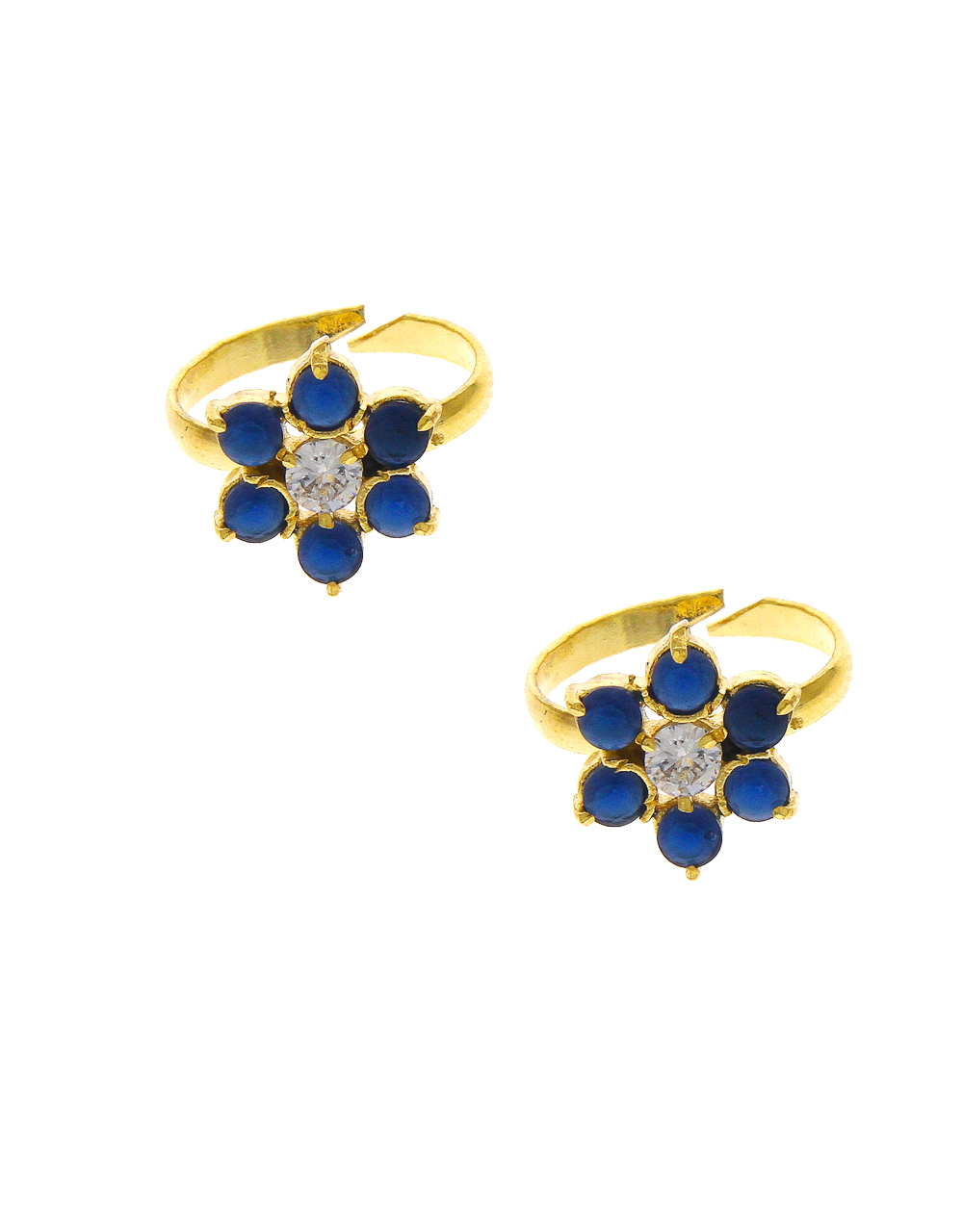 Simple Floral Design Toe Ring Studded With Stone Bichiya