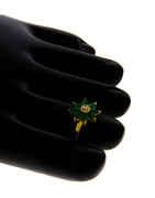 Green Colour Gold Finish Toe Ring Diamond Styled Bichiya