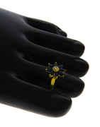 Floral Design Blue Diamond Stone Toe Ring For Women