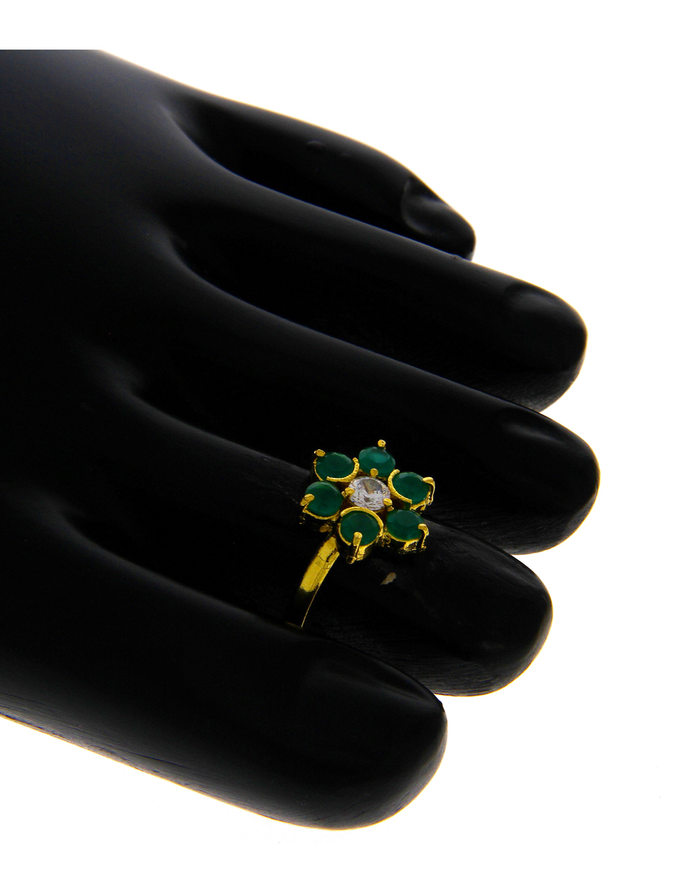 Green Colour Gold Finish Toe Ring For Women Fancy